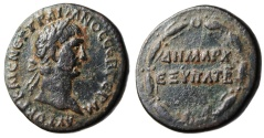 "Ancient Coins - Trajan AE21 ""DHMARX EXYPAT in Wreath"" Syria Antioch Mint 98-99 AD VF"