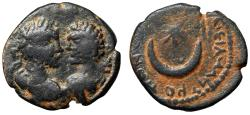 "Ancient Coins - Caracalla & Geta AE20 ""Confronted Portraits & Crescent, Star"" Carrhae Rare"