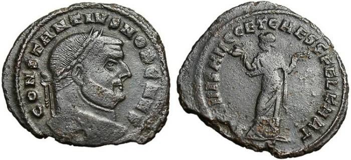 "Ancient Coins - Constantius I Caesar, AE Follis ""Carthago"" Carthage RIC 30a Scarce"