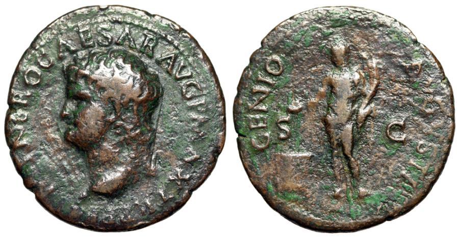 """Ancient Coins - Nero AE As """"GENIO AVGVSTI Genius of the Romans, Altar"""" Left Portrait RIC 534"""