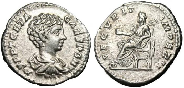 """Ancient Coins - Geta, AR Denarius """"SECVRIT IMPERII Securitas"""" Rome RIC 20 EF"""