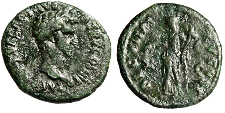"Ancient Coins - Nerva AE As ""Aequitas With Scales"" Rome Mint 97 AD RIC 77 About Very Fine"