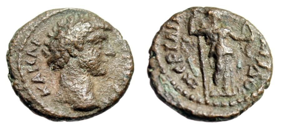 """Ancient Coins - Marcus Aurelius Caesar AE14 """"Artemis Holding Torch & Bow"""" Pamphylia Perga Rare"""
