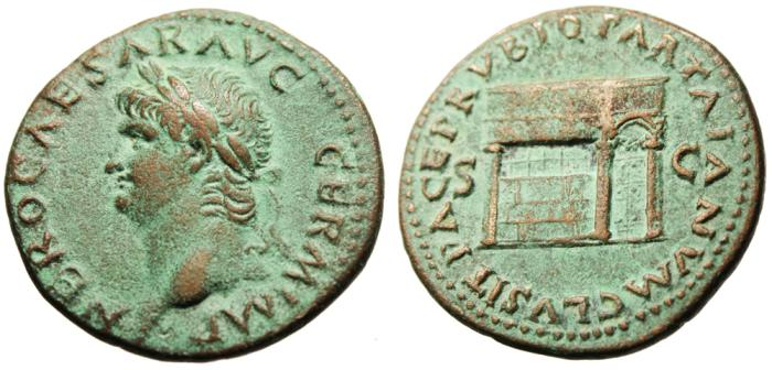 """Ancient Coins - Nero AE As """"Bust Left & Temple of Janus Right"""" Rome RIC 307 nEF Exceptional"""