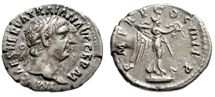 """Ancient Coins - Trajan AR Denarius """"Victory on Prow Ornamented With Snake"""" Rome RIC 59 gVF"""