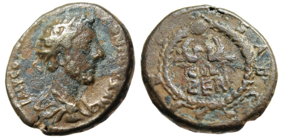 "Ancient Coins - Commodus AE22 ""Two Aquilae in Wreath COL BER"" Phoenicia Berytos Rare"