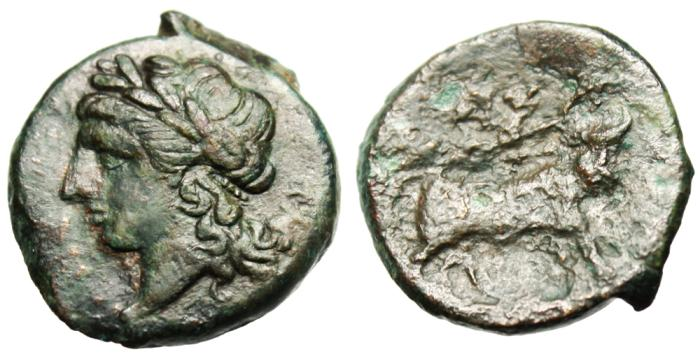 "Ancient Coins - Campania, Neapolis AE20 ""Apollo, Theta Behind / Man-Headed Bull"" VF"