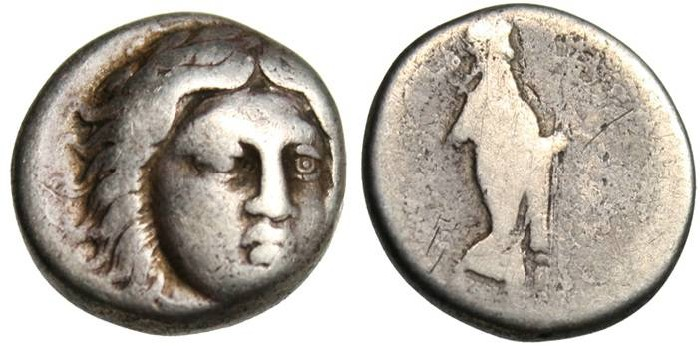 "Ancient Coins - Satraps of Caria: Maussolos AR Drachm ""Facing Apollo & Labraundos"""