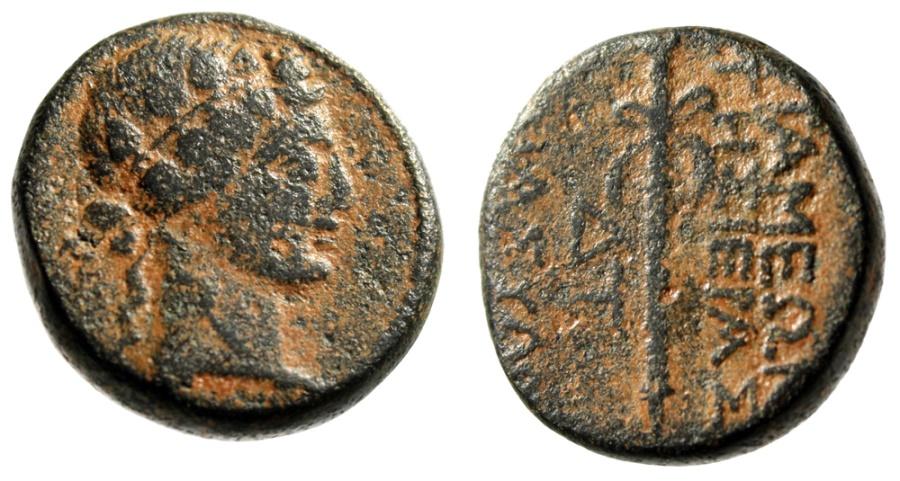 "Ancient Coins - Syria, Apamea AE19 ""Dionysos & Thyrsos"" Dated Year 304 (9-8BC) Desert Patina"