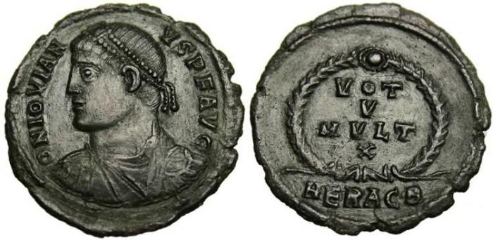 "Ancient Coins - Jovian, AE3 ""VOT V MVLT X"" Heraclea HERACB Generous Flan EF"