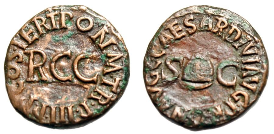 """Ancient Coins - Caligula (Gaius) AE Quadrans """"Legend RCC Pileus & SC"""" Rome Mint 40-41 AD RIC 52"""