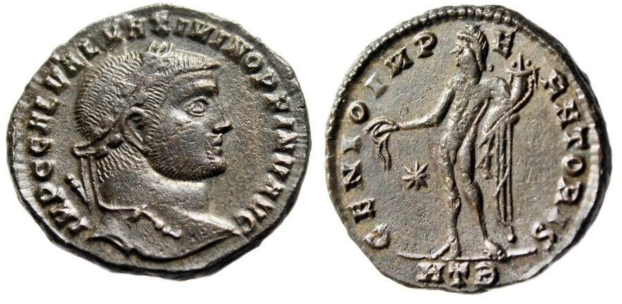 "Ancient Coins - Maximinus II Daia Follis ""GENIO IMPERATORIS Genius, Retrograde Epsilon"" 49a gVF"