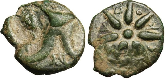 "Ancient Coins - Pontos, Anonymous AE 18 ""Leather Cap & Seven Rayed Star CKOPA"" Rare Unpublished"