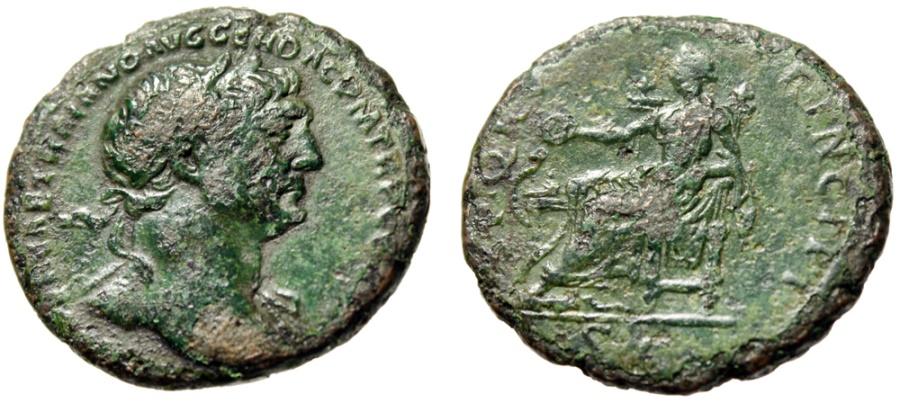 "Ancient Coins - Trajan AE As ""SPQR OPTIMO PRINCIPI Salus Seated, Salvation"" Rome RIC 515 Fine"