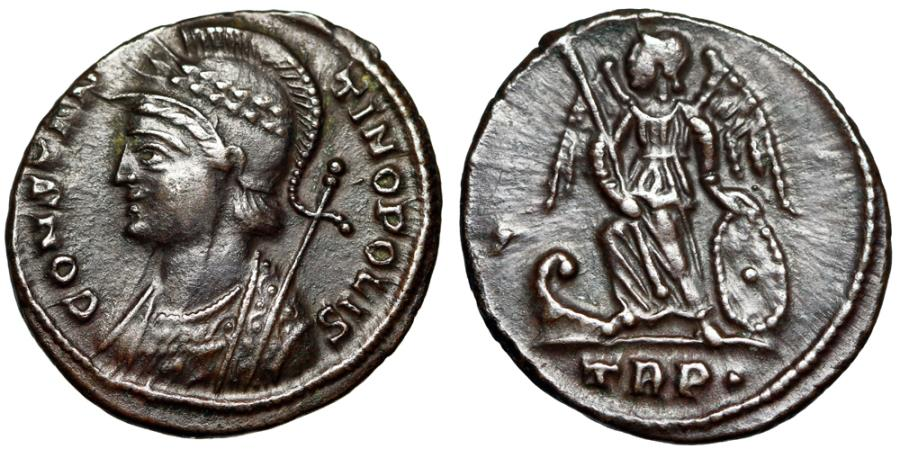 "Ancient Coins - Constantinople City Commemorative ""Victory, Pellet Left"" Treveri Rare Variety"