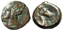 "Ancient Coins - Zeugitania, Carthage AE20 ""Tanit & Head of Horse, Punic Letter Beth"" Rare"
