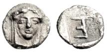 """Ancient Coins - Ionia, Kolophon Silver Tetartemorion """"Apollo Facing & TE Monogram"""" Choice EF"""