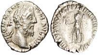 "Ancient Coins - Commodus Silver Denarius ""Virtus With Spear & Shield"" Rome RIC 160 VF"