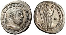 "Ancient Coins - Constantius I Caesar Silvered Follis ""FELIX ADVENT Africa, Lion Bull"" RIC 24a EF"