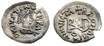 "Ancient Coins - Germanic Tribe, Gepids Imitative AR 1/4 Siliqua ""Justin, Theodoric Monogram"" EF"