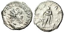 "Ancient Coins - Postumus Silver Antoninianus ""SALVS AVG Aesculapius (Asklepios)"" Good VF RIC 326"