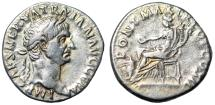 "Ancient Coins - Trajan AR Denarius ""Concordia Seated, Sacrificing at Altar"" 98-99 AD RIC 12 VF"