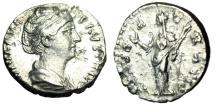 "Ancient Coins - Diva Faustina I Posthumous Silver Denarius ""CONSECRATIO Ceres"" Rome RIC 382a VF"