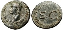 """Ancient Coins - Germanicus AE As """"Large SC in Wreath"""" Rome Under Caligula 37-38 AD RIC 35 EF"""