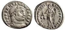 "Ancient Coins - Constantius I Chlorus Silvered Follis ""Moneta, Scales"" Ticinum RIC 46a EF"