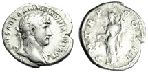 "Ancient Coins - Hadrian Silver Denarius ""Aequitas With Scales"" Rome Mint RIC 80 Fine"