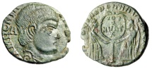 "Ancient Coins - Magnentius AE Centenionalis ""Two Victories, Wreath on Column"" Lyons RIC 121"