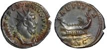 "Ancient Coins - Postumus AR Antoninianus ""LAETITIA AVG Galley Sailing"" Trier RIC 73 VF Nice Tone"