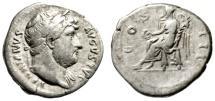 "Ancient Coins - Hadrian AR Denarius ""COS III Victory Seated"" Rome RIC 345 Fine"