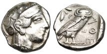 "Ancient Coins - Attica, Athens Silver Tetradrachm ""Athena, Owl Olive"" 450-400 BC Old Style"