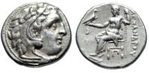 "Ancient Coins - Alexander III The Great AR Drachm ""Herakles & Zeus, Crescent"" Kolophon Good VF"