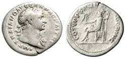 "Ancient Coins - Trajan AR Denarius ""OPTIMO PRINC Roma Seated"" Rome 103-111 AD Fine"