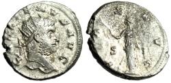 "Ancient Coins - Gallienus Silvered Antoninianus ""PAX AVG Pax, S-I Across"" Siscia RIC 575 VF"
