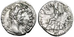 "Ancient Coins - Commodus AE Denarius ""Jupiter Seated, Holding Thunderbolt"" 185 AD RIC 117a aVF"