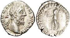 "Ancient Coins - Commodus Silver Denarius ""Virtus With Spear & Shield"" Rome RIC 160 VF"