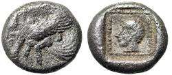 "Ancient Coins - Dynasts Lycia: Uvug AR Obol ""Winged Man Headed Bull Left & Aphrodite"" Very Rare"