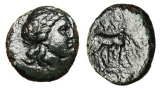 "Ancient Coins - Troas, Alexandria AE12 ""Apollo & Horse, Phi Below"" 3rd-2nd Century BC"