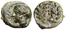 """Ancient Coins - Sicily, Himera AE Hemilitron """"Nymph & Six Pellets in Wreath"""" EF Choice"""