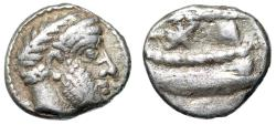 "Ancient Coins - Phoenicia, Arados AR Tetrobol ""Ba'al Arwad & Pentekonter (Galley)"" aF"