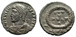"Ancient Coins - Jovian AE3 ""VOT V MVLT X in Wreath"" Heraclea 363-364 AD RIC 110 Choice EF"