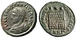 """Ancient Coins - Constantius II AE18 """"PROVIDENTIAE CAESS Campgate"""" Heraclea RIC 97 About EF"""