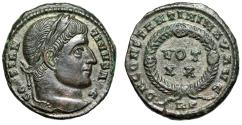 """Ancient Coins - Constantine I The Great """"VOT XX Within Decorated Laurel Wreath"""" Rome RIC 237 EF"""