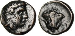 """Ancient Coins - Caria, Rhodes AE9 """"Rhodos & Rose Flower"""" Circa 350-300 BC VF"""