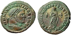 "Ancient Coins - Galerius as Caesar AE Follis ""Carthago, Fruits"" Carthage Mint RIC 32b Good VF"