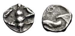 "Ancient Coins - Ionia, Ephesos Silver Hemi-Tetartemorion ""Bee & Eagle Head Left"" Extremely Rare"