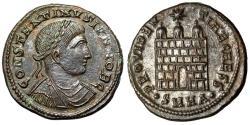 "Ancient Coins - Constantine II Caesar AE19 ""PROVIDENTIAE CAESS Camp Gate"" Heraclea RIC 67 Scarce"